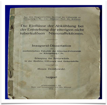 Inaugural-Dissertation, Konigsberg 1914 written in German by Moses Dembowski