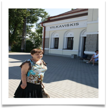 Michelle at the Vilkaviskis Railway Station.