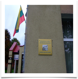 Plaque and Lithuanian flag