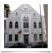 The Synagogue - its was Lithuanian Holocaust Day - on every public building